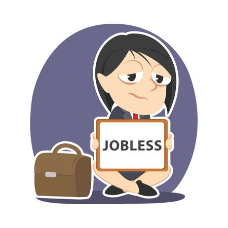 Businesswoman with jobless board sign.