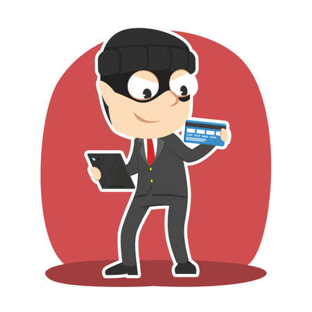 Thief businessman with tablet and credit card illustration. Illustration