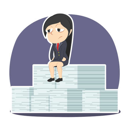 Sad businesswoman sitting on her incomplete task stack