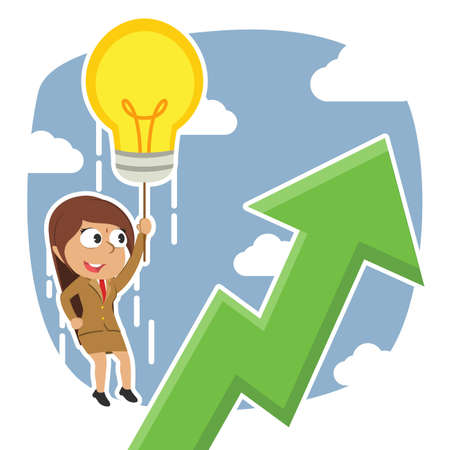 Indian businesswoman fly with her idea and see upward graphic
