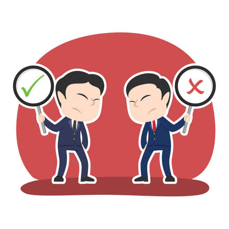 Chinese businessman debate using checklist and crosswise sign Illustration