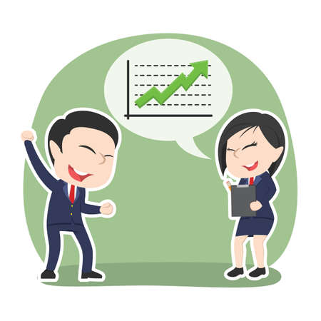 Asian businesswoman presenting up graph to her boss  イラスト・ベクター素材