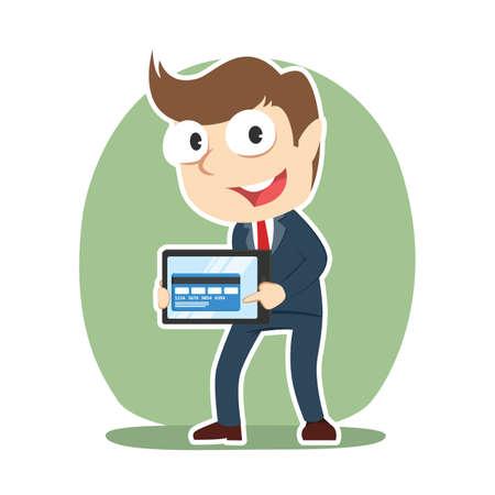 Businessman showing credit card from tablet illustration. Illustration