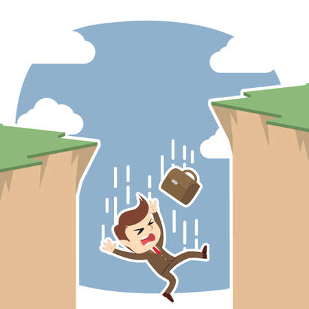 Businessman fall from cliff illustration. Çizim