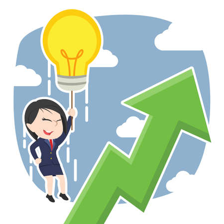 Businesswoman fly with her idea and see upward graphic