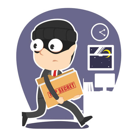 Thief businessman stealing top secret document folder concept illustration.