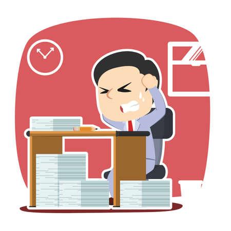 Businessman stressed out while work Ilustração