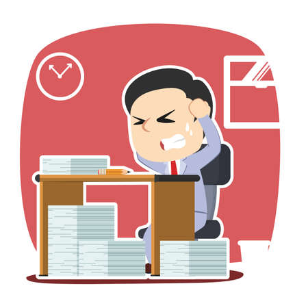 Businessman stressed out while work Illustration