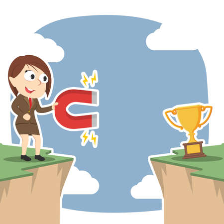 Businesswoman attract trophy from other side of cliff