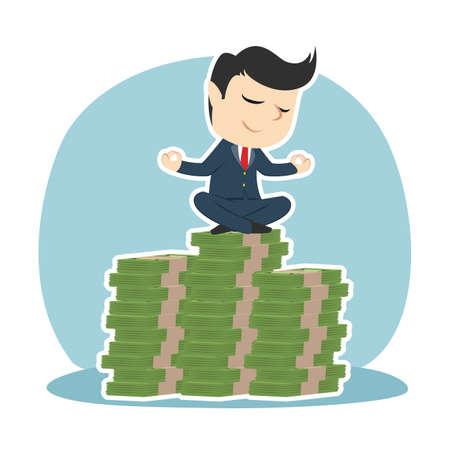 Businessman meditating on top of money stacks