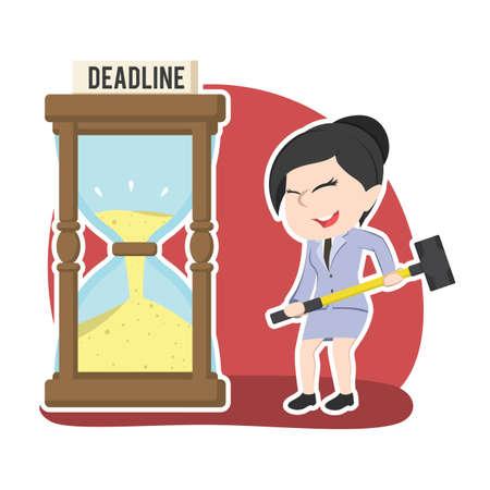 Asian businesswoman want to break deadline hourglass with hammer Illustration