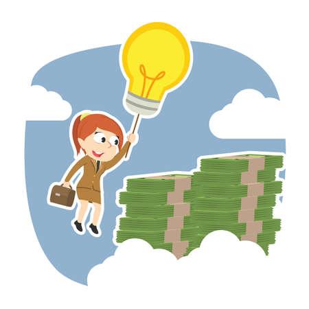 Businesswoman using her idea to the top of money peak