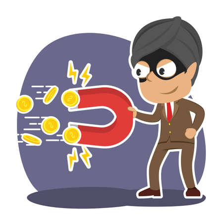 Thief Indian businessman stealing ideas with magnet illustration.