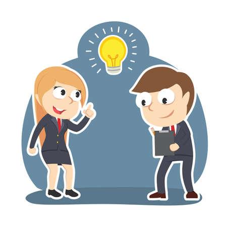 Businesswoman got idea when her partner writing report