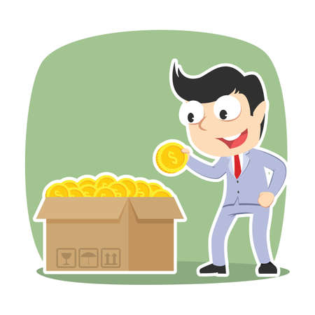 Businessman choosing fortune coin from his coin box