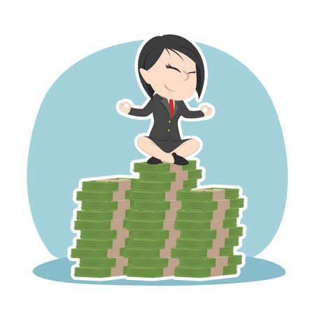 Asian businesswoman meditating on top of money stacks Standard-Bild - 93132418
