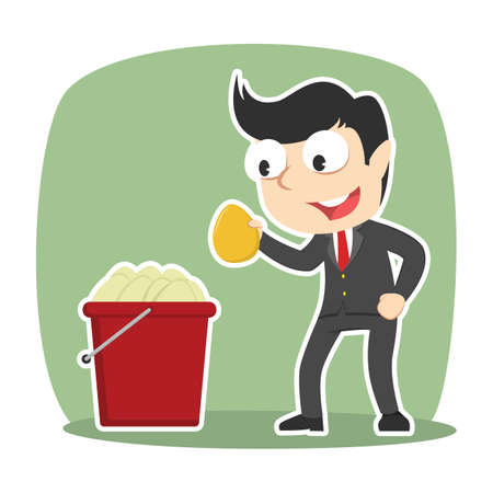 Businessman pick golden egg from egg bucket Illustration