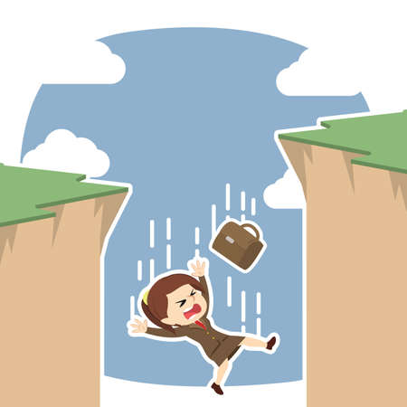 Businesswoman fall from cliff