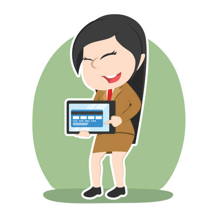 Asian businesswoman showing credit card from tablet Illustration