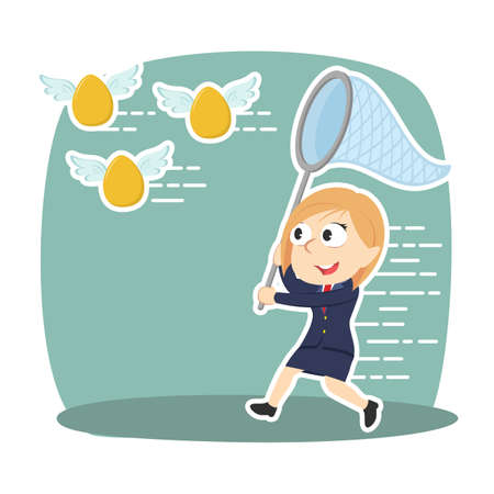 Businesswoman trying to catch flying golden eggs illustration.