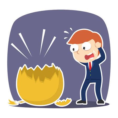 Businessman shocked when see his golden egg broke