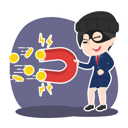 Asian thief businesswoman stealing ideas with magnet.