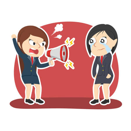 Businesswoman yelling with megaphone to her female employee Illustration