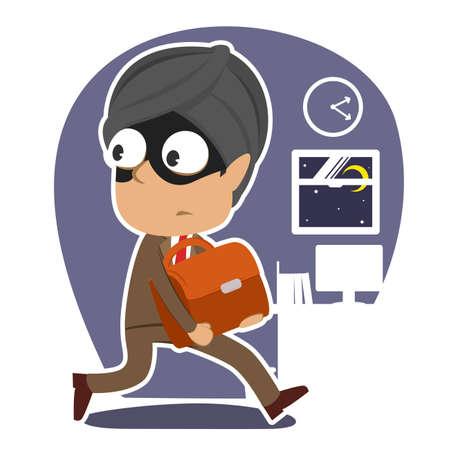 Indian thief businessman stealing briefcase