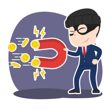磁石でコインを盗むアジアの泥棒ビジネスマン