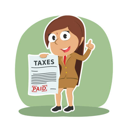 Sad indian businesswoman showing paid tax paper