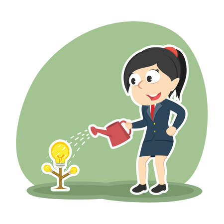 Businesswoman watering her idea tree for growing