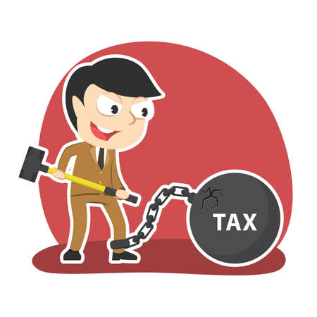 Businessman want to break cracked iron ball tax