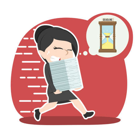 Asian businesswoman running with documents due to deadline