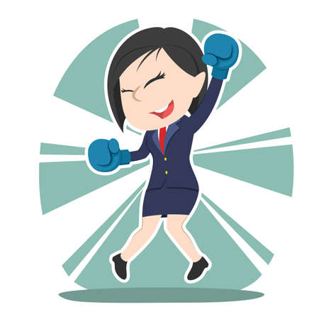 Successful chinese businesswoman wear boxing gloves