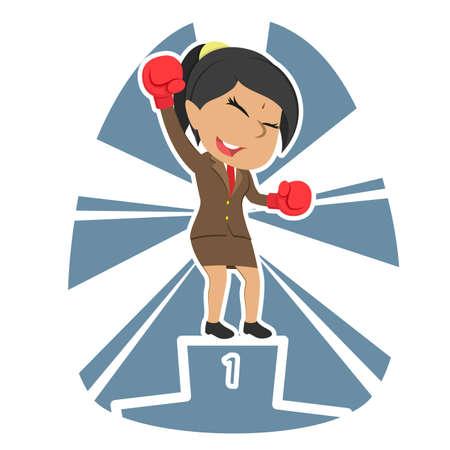 Indian businesswoman boxer champion color 向量圖像