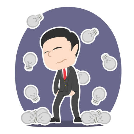 Tired chinese businessman with dim bulbs raining