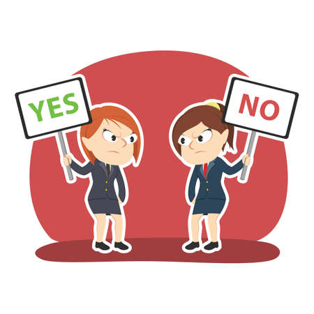 Businesswoman arguing using yes and no sign Stock Illustratie