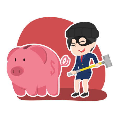 Asian thief businesswoman want to break piggy bank