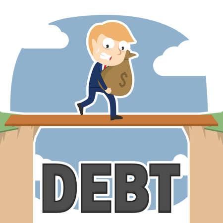 Businessman carrying money sack between debt cliff