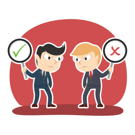 Businessman debate using checklist and crosswise sign Illustration