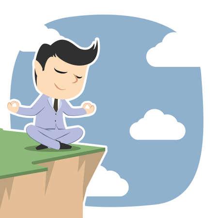 Businessman meditating on cliff edge Illustration