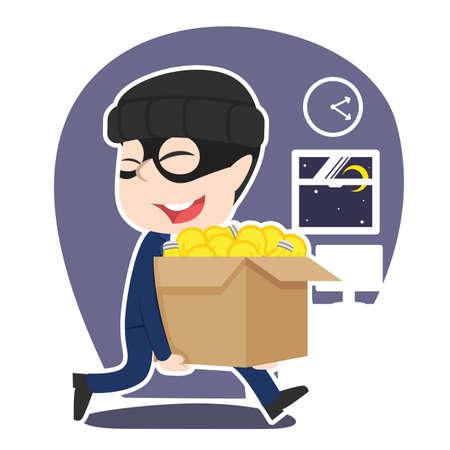 Asian thief businessman stealing box of ideas Stock Illustratie