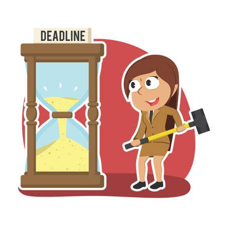 Indian businesswoman want to break deadline hourglass with hammer