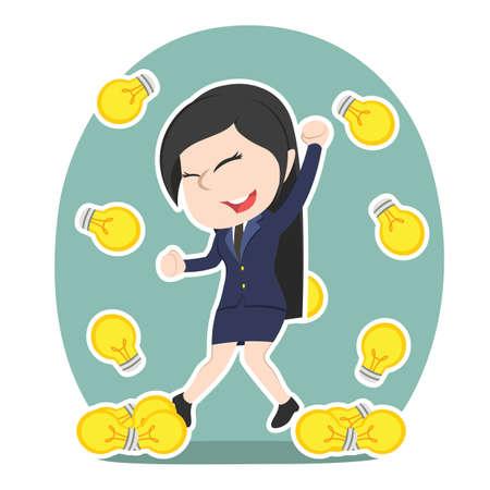 Chinese businesswoman idea bulbs raining