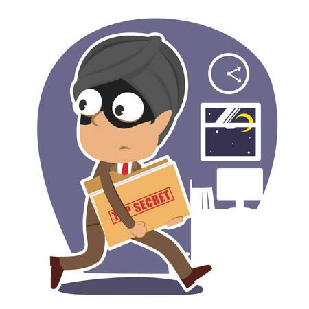 Thief Indian businessman stealing top secret document folder.