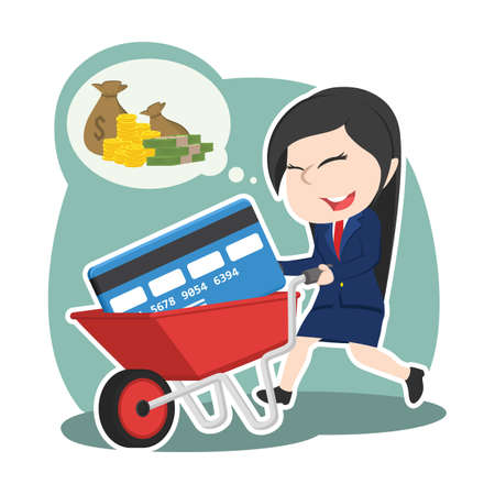 Asian businesswoman with credit card in wheelbarrow illustration.