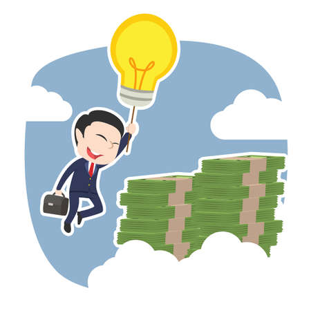 Asian businessman using his idea to the top of money peak.