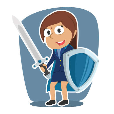 Super Indian businesswoman with sword and shield illustration. Illustration
