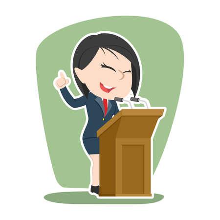 Asian businesswoman giving speech Illustration