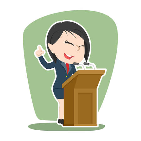 Asian businesswoman giving speech Illustration